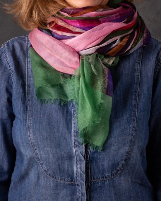 CASHMERE SCARF MULTICOLOR GREEN AND PINK
